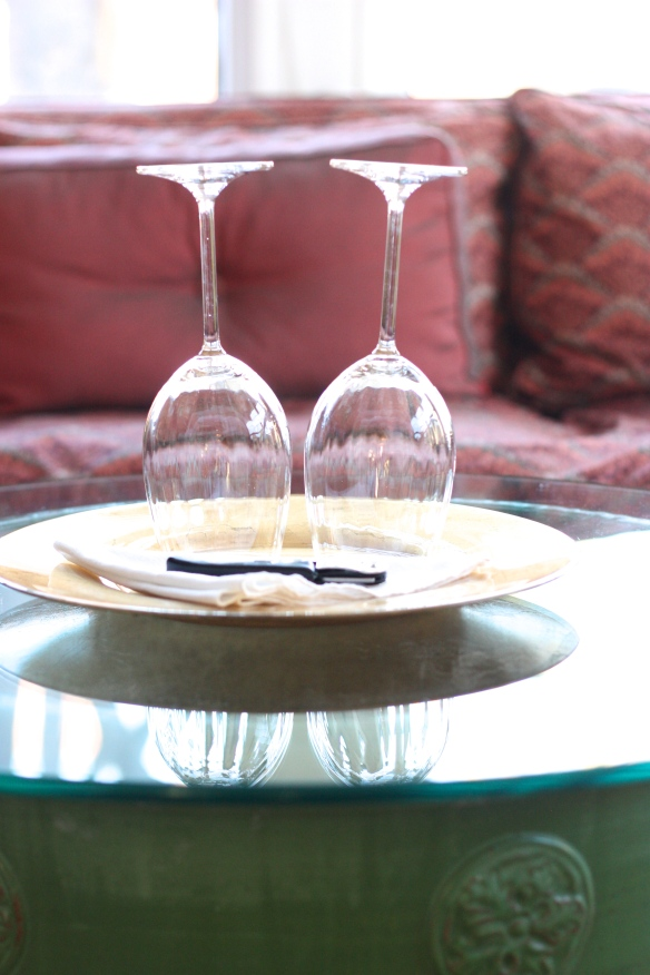 two upside-down wine glasses