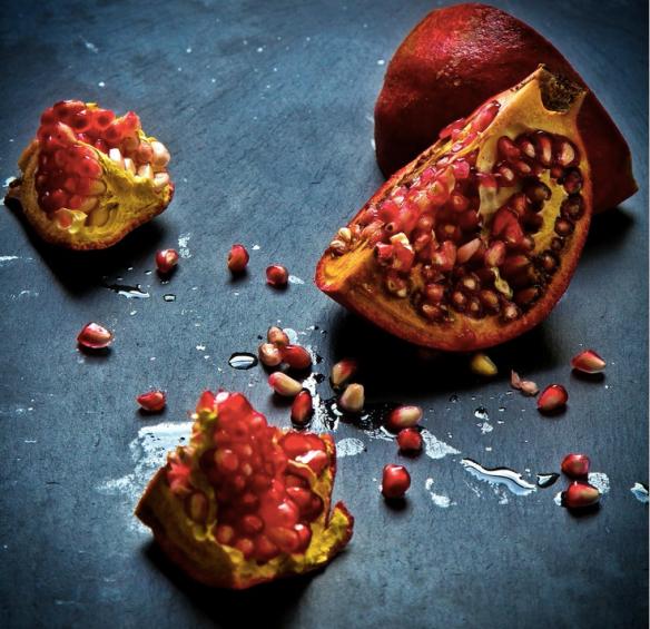 Pomegranate split open
