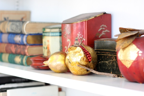 shelf with faux pomegranate