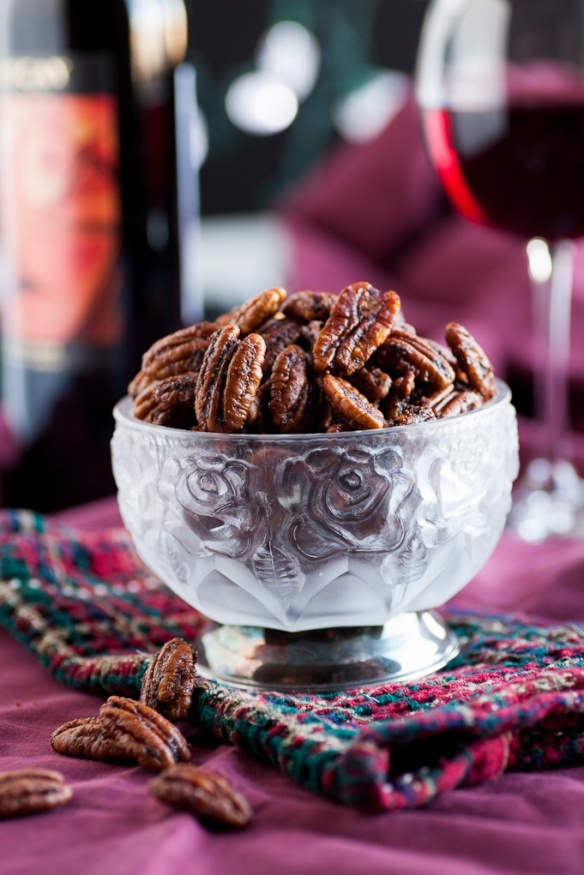 Ancho Chili pecans in a bowl