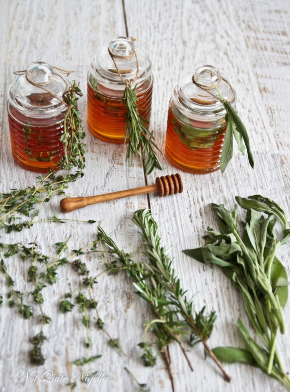 jars of honey and herbs