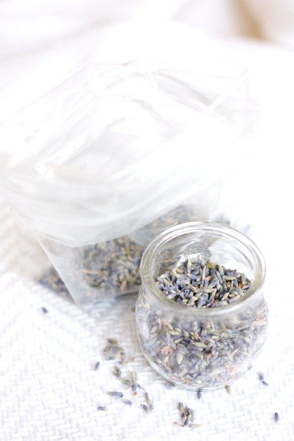 bag and jar of lavender buds