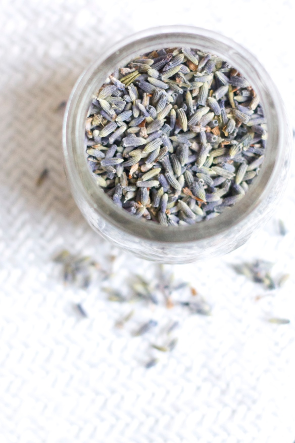bird's eye view of lavender buds in jar