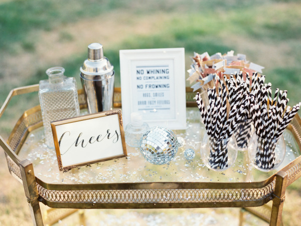 cheers sign on bar cart - How To Style A Bar Cart