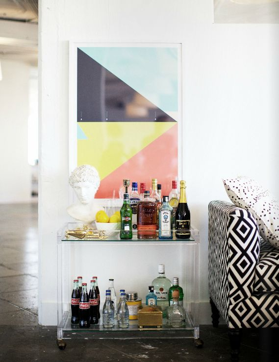 geometric art above bar cart