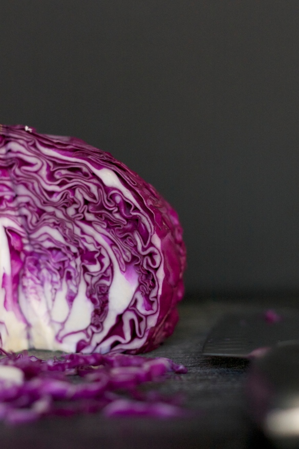 Red cabbage with knife unedited
