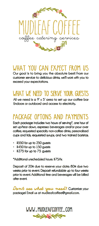 Mudleaf Coffee pricing sheet for Dallas Bridal Show