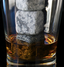 whiskey stones in a glass with whiskey